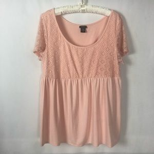 Torrid Short Sleeve Embroidered Baby Doll Blouse 0